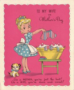 vintage Mother's Day card to wife