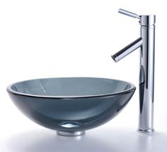 Clear Black Glass Vessel Bathroom Sink & Sheven Faucet