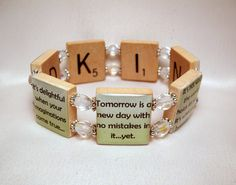 ANNE of GREEN GABLES Quote Bracelet / Upcycled Jewelry / Scrabble Art / Kindred Spirits - 1