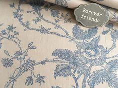 """Stoff Ornamente - Acufactum Stoff """"Blütenknospen beige- blau"""" - ein Designerstück von DiekleineStoffwerkstatt bei DaWanda"""