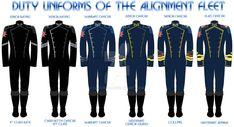 Sci-Fi: Alignment Fleet Uniforms by Leovinas on DeviantArt Military Guard, Military Uniforms, Honor Harrington, Science Fiction, Pilot Uniform, Concept Clothing, Military Dresses, Future Soldier, Uniform Design