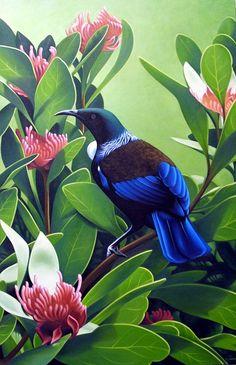by Miranda Woollett Art Maori, Native Drawings, Tui Bird, Thinking In Pictures, New Zealand Art, Nz Art, Nature Paintings, Art And Illustration, Art Club