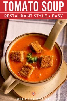 This classic recipe transcends culture, everyone likes tomato soup! This restaurant style tomato soup uses ripe tomatoes, cream, and some spices to make everything taste delicious! Vegetarian Vegetable Soup, Vegetarian Curry, Vegetarian Breakfast Recipes, Vegetable Soup Recipes, Vegetable Recipes, Nutrients In Tomatoes, Indian Food Recipes, Real Food Recipes, Cake Recipes