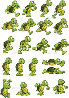 Turtle Sprites (Sprites) Sprite Database, Cartoon Turtle, 2d Game Art, Game Background, Game Assets, Game Ui, Sprites, Route 66, Storyboard