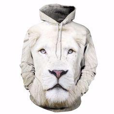 WHITE LION UNISEX HOODIE