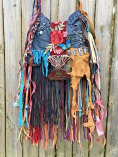 Handmade Denim & Leather Fringe Crazy Fun Bag Gypsy Hippie Festival Purse B.Joy | eBay