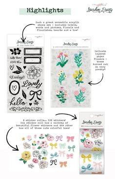 Maggie Holmes Garden Party Embellishments Stickers and Stamps Pretty Hands, Day Planners, Beautiful Patterns, Pretty Flowers, Your Cards, Thank You Cards, Paper Flowers, Hand Lettering, Embellishments