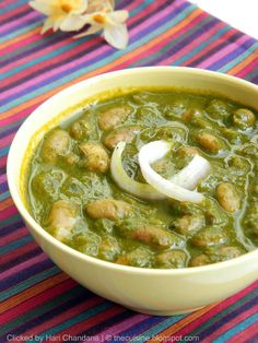 Pinto Beans in Spinach Sauce / Rajma Palak Recipe: Preparation & Cooking Time: 30 mins Serves : 4 persons Ingredients: Pinto Beans / Chitra Rajma: 1/2 cup Chopped Spinach : 2 cups, packed Onion : 1 big size Tomato 1 Ginger Garlic Paste : 1 tsp Garam Masala : 1 tsp Cumin Seeds : 1/4...