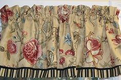 """Montague Waverly Khaki Red Green Floral Toile Valance 17"""" x 54"""" Dra Wt Curtain #Blue #Floral #Green"""