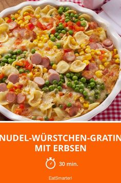 Noodle sausage gratin with peas-Nudel-Würstchen-Gratin mit Erbsen Noodle sausage gratin with peas – smarter – calories: 685 kcal – time: 30 min. Baked Pasta Recipes, Beef Recipes, Soup Recipes, Salad Recipes, Vegetarian Recipes, Chicken Recipes, Cooking Recipes, Healthy Recipes, Kids Meals