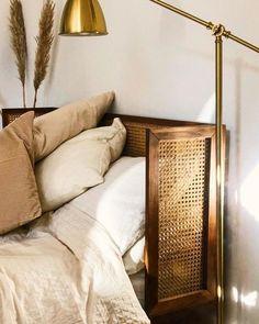 Noya vintage bed and base , walnut, La Redoute Interieurs Home Bedroom, Bedroom Decor, Bedrooms, Rattan Headboard, Rattan Bed Frame, Diy Bed Frame, Elegant Homes, Decoration, Furniture Design