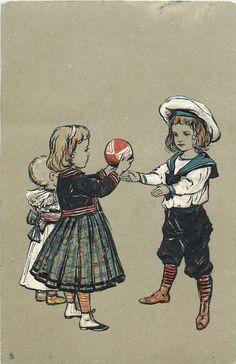girl & boy play ball, small child behind girl