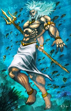 Poseidon is the god of the sea and protector of all aquatic features. Brother of Zeus and Hades, after the overthrow of their father, Cronus, he drew lots with them to share the universe. Greek And Roman Mythology, Greek Gods And Goddesses, Celtic Mythology, Zeus And Hades, Poseidon, Anime Echii, Fantasy Love, Psy Art, Mermaids And Mermen
