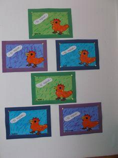 Petite poule rousse - Traits obliques/ penchés
