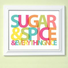 Custom Girls Room Decor Art  Sugar and Spice  by AppleBlossomPrint, $18.00