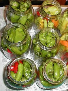 Pickled pepperoncini peppers or hot banana peppers.  Since I purchased pepperoncini peppers to grow this year, I'll def. be doing this.