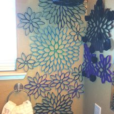 Toilet paper rolls used for wall art! Saw this on here and thought I would share what I've done with it in  my bathroom ;)