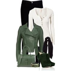 White Henley, Black Jeans, and Green Leather Jacket (Versus Leather Biker Jacket with Seams )