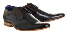 Ted Baker Hanmix Brogue Black Dark Blue Red Leather - Smart