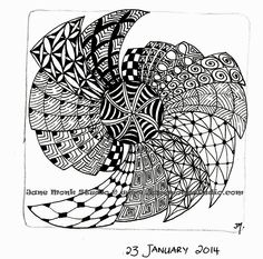 Jane Monk Studio - Longarm Machine Quilting & Teaching the Art of Zentangle®: One Tangle - Daily tangle drawings