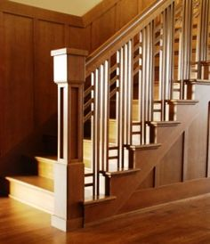 Love this arts and crafts style staircase.