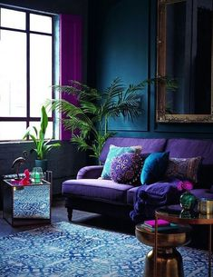 a bright purple sofa, pink curtains and a blue printed rug for brightening up a . a bright purple sofa, pink curtains and a blue printed rug for brightening up a moody space Living Room Green, Living Room Colors, Living Room Sofa, Living Room Designs, Living Area, Jewel Tone Living Room Decor, Jewel Tone Room, Jewel Tone Decor, Bold Living Room