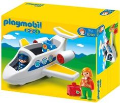 "Playmobil 123 Personal Jet - Cute 9"" long toy jet with pilot, passenger, and luggage. No wheels, but otherwise fun and ""indestructible"" according to reviews. $15 on Amazon.com as of 3/17/14."