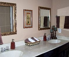 double vanity with framed mirrors