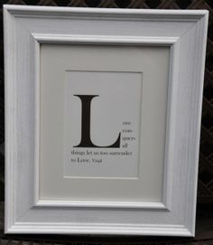 Framed Monogram Quote Print - Letter L - CHOOSE YOUR QUOTE - 8x10