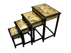 Gold Leaf 4 Piece Nest of Tables World Menagerie Table, Nesting Tables, Oriental Furniture, Gold Leaf Furniture, Furniture, Cofee Table, Chinese Furniture, China Furniture, Sideboard Gold