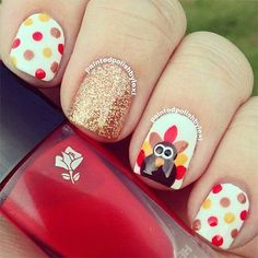 Thanksgiving Nails Fall Nail Art, Dot Nail Art, Fall Nails, Polka Dot Nails, Polka Dots, Thanksgiving Nails, Thanksgiving Ideas, Thanksgiving Nail Designs, Fall Nail Designs