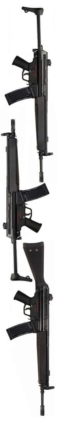 HK33 family (5.56x45mm): HK33 A3 telescoping stock, HK33K A3 (short bbl) and HK33 A2 fixed stock.