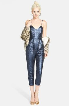 Tildon Faux Fur Jacket & Rules of Etiquette Sequin Jumpsuit  available at #Nordstrom