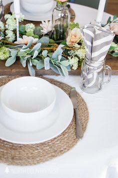 spring table decor, spring tablescape, table decor ideas, romantic table decorations, decorating for spring #springdecor #springtable