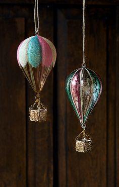Glitterville Hot Air Balloon Glass Ornaments.