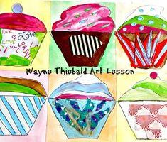 Art Lesson Wayne Thiebaud to Grades Cupcakes Art History and Project - Dulcia Danzelman Drawing Lessons, Art Lessons, Joy Art, Candy Art, Cupcake Art, Fun Arts And Crafts, Wayne Thiebaud, Process Art, Art Themes