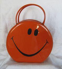 Vintage 1970's Round Orange Patent Leather Smiley Face Handbag Purse #TOLINMFGCo #Box