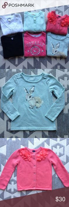 """4/4T girls sweater/long sleeve bundle. All in excellent condition! Gymboree teal sweater size xs(4), Old Navy coral sweater with flowers size 4T, Old Navy white cropped 3/4 sleeve sweater size xs (5), Gymboree bunny top size 4, Carters """"totally awesome"""" top size 4 and black Old Navy long sleeve size 4T Shirts & Tops"""