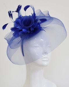 5fe941de1a4c1 Caprilite Big Royal Blue Fascinator Hat Veil Net Hair Clip Ascot Derby Races  Wedding Headband Feather Flower