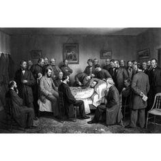 Digitally restored vintage Civil War print of President Abraham Lincoln on his deathbed Canvas Art - John ParrotStocktrek Images (18 x 12)