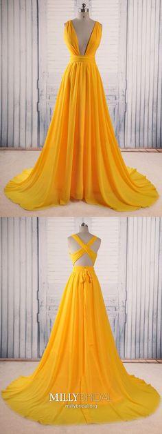 Yellow Prom Dresses Long,A-line Prom Dresses V-neck,Elegant Prom Dresses Open Back,Chiffon Prom Dresses with Ruffles