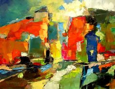 "Carmel Georgescu's ""A Morning"" Oil on canvas 12"" x 16"",  2012. Brightly colored abstract cityscape of reds, yellows, greens with defining dark blue, brown, black."