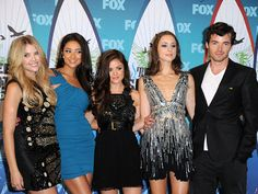 Loving the cocktail dresses worn by the actresses from Pretty Little Liars!  Shay Mitchell's blue is beautiful!