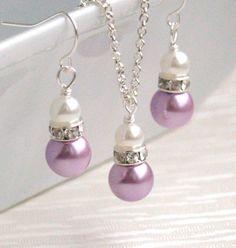Collar de perlas lavanda púrpura conjunto de collar y