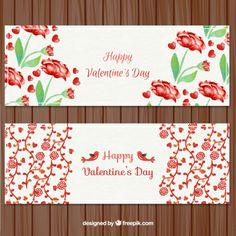 Happy valentine day floral banners pack Free Vector