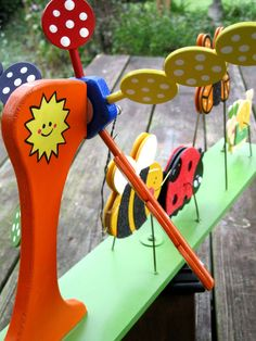 wooden toy whirligig ~ bumble bee, lady bug, butterfly and snail Old Fashioned Toys, Lady Bug, Snail, Wooden Toys, Bugs, Butterfly, Christmas Ornaments, Holiday Decor, Unique Jewelry