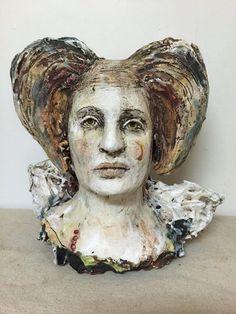 brown - woman - head - figurative sculpture - Debra Fritts