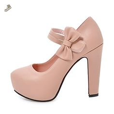 8bd20a8a28 Onlymaker Women Sweet Bows Round Toe Platform Pumps Mary Jane High Heel  Stiletto Shoes Pink US10
