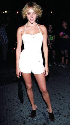 Chloë Sevigny in a white playsuit, 2002.