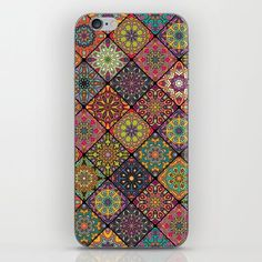 Vintage patchwork with floral mandala elements iPhone & iPod Skin